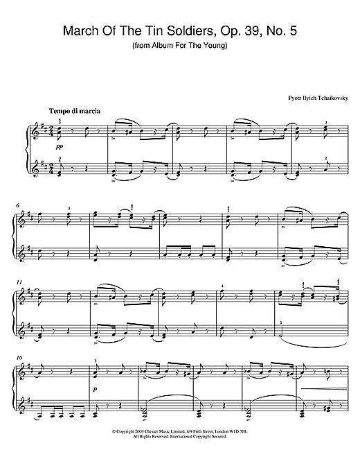 Download Pyotr Ilyich Tchaikovsky 'March Of The Tin Soldiers, Op. 39, No. 5 (from Album For The Young)' Digital Sheet Music Notes & Chords and start playing in minutes