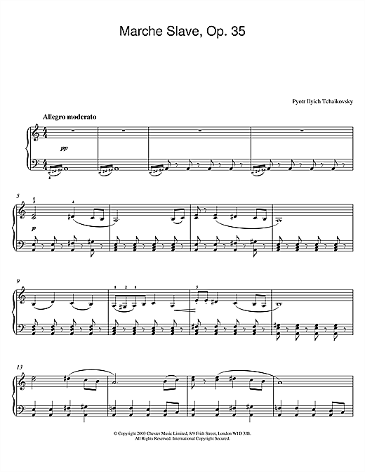Pyotr Ilyich Tchaikovsky Marche Slave, Op. 31 sheet music notes and chords