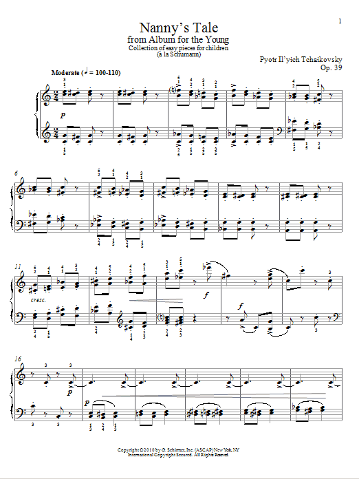 Download Pyotr Ilyich Tchaikovsky 'Nanny's Tale' Digital Sheet Music Notes & Chords and start playing in minutes
