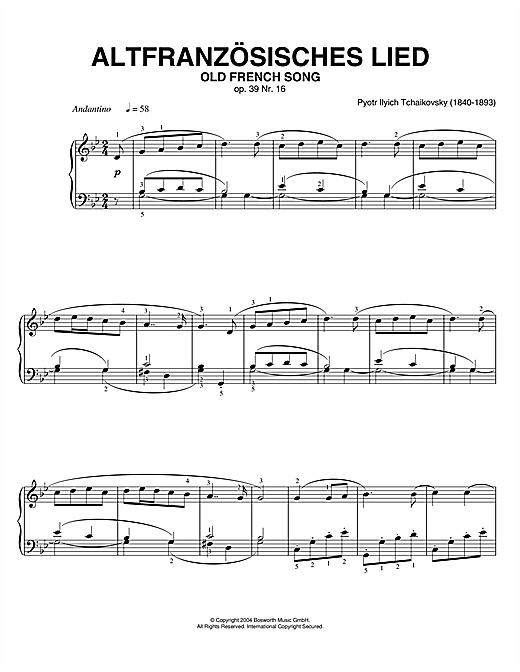 Download Pyotr Ilyich Tchaikovsky 'Old French Song, Op. 39, No. 16 (from Album For The Young)' Digital Sheet Music Notes & Chords and start playing in minutes