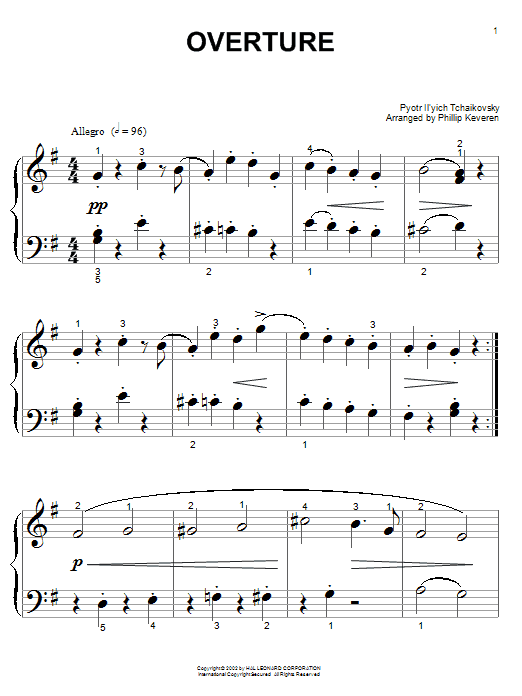 Download Pyotr Ilyich Tchaikovsky 'Overture' Digital Sheet Music Notes & Chords and start playing in minutes