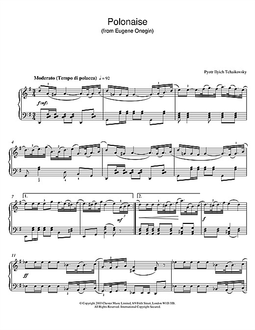 Pyotr Ilyich Tchaikovsky Polonaise (from Eugene Onegin) sheet music notes and chords