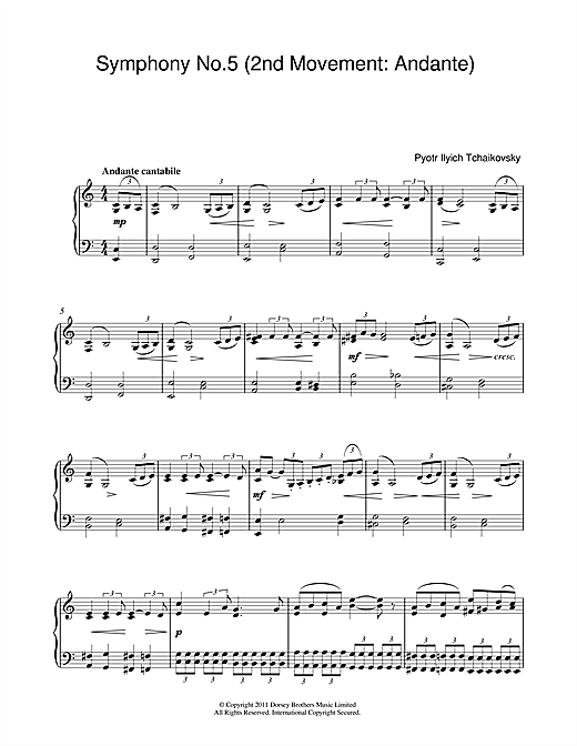 Download Pyotr Ilyich Tchaikovsky 'Symphony No.5 (2nd Movement: Andante)' Digital Sheet Music Notes & Chords and start playing in minutes