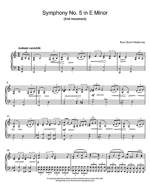 Download Pyotr Ilyich Tchaikovsky 'Symphony No. 5 in E Minor (2nd movement)' Digital Sheet Music Notes & Chords and start playing in minutes