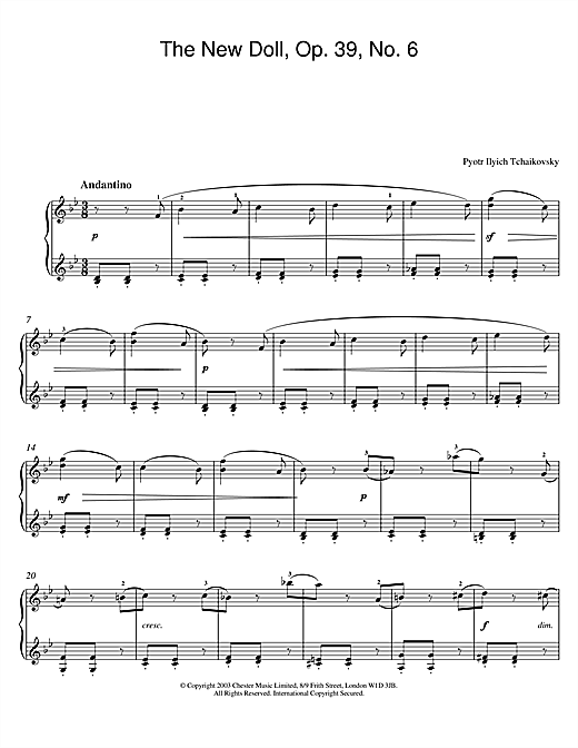 Download Pyotr Ilyich Tchaikovsky 'The New Doll, Op. 39, No. 6 (from Album For The Young)' Digital Sheet Music Notes & Chords and start playing in minutes