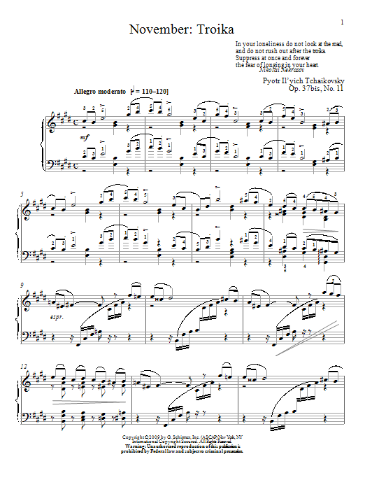 Download Pyotr Ilyich Tchaikovsky 'Troika' Digital Sheet Music Notes & Chords and start playing in minutes