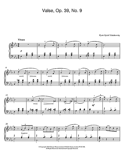 Download Pyotr Ilyich Tchaikovsky 'Valse, Op. 39, No. 9 (from Album For The Young)' Digital Sheet Music Notes & Chords and start playing in minutes