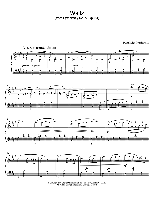 Pyotr Ilyich Tchaikovsky Waltz (from Symphony No. 5, Op. 64) sheet music notes and chords