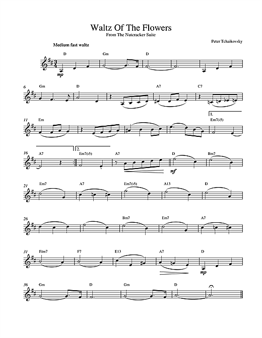 Pyotr Ilyich Tchaikovsky Waltz Of The Flowers (from The Nutcracker) sheet music notes and chords