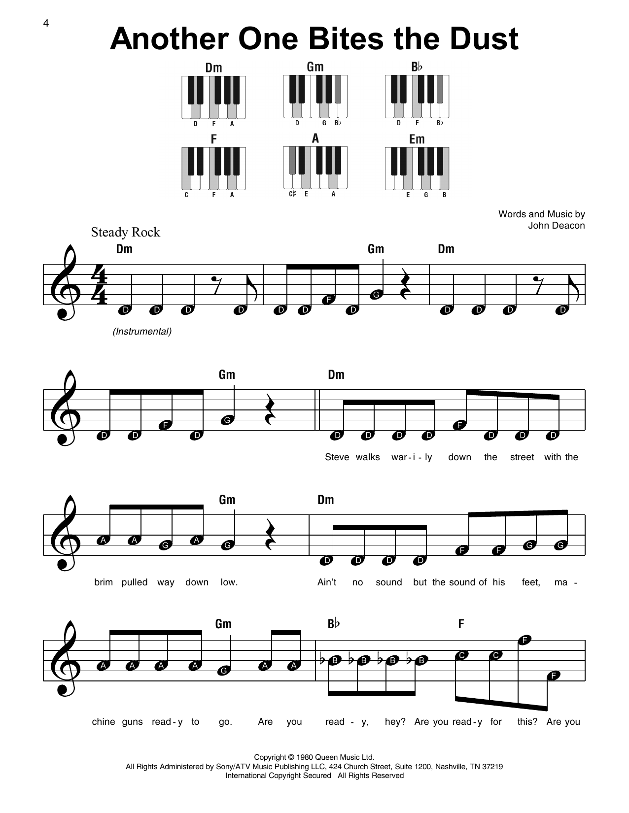 Queen Another One Bites The Dust sheet music notes and chords