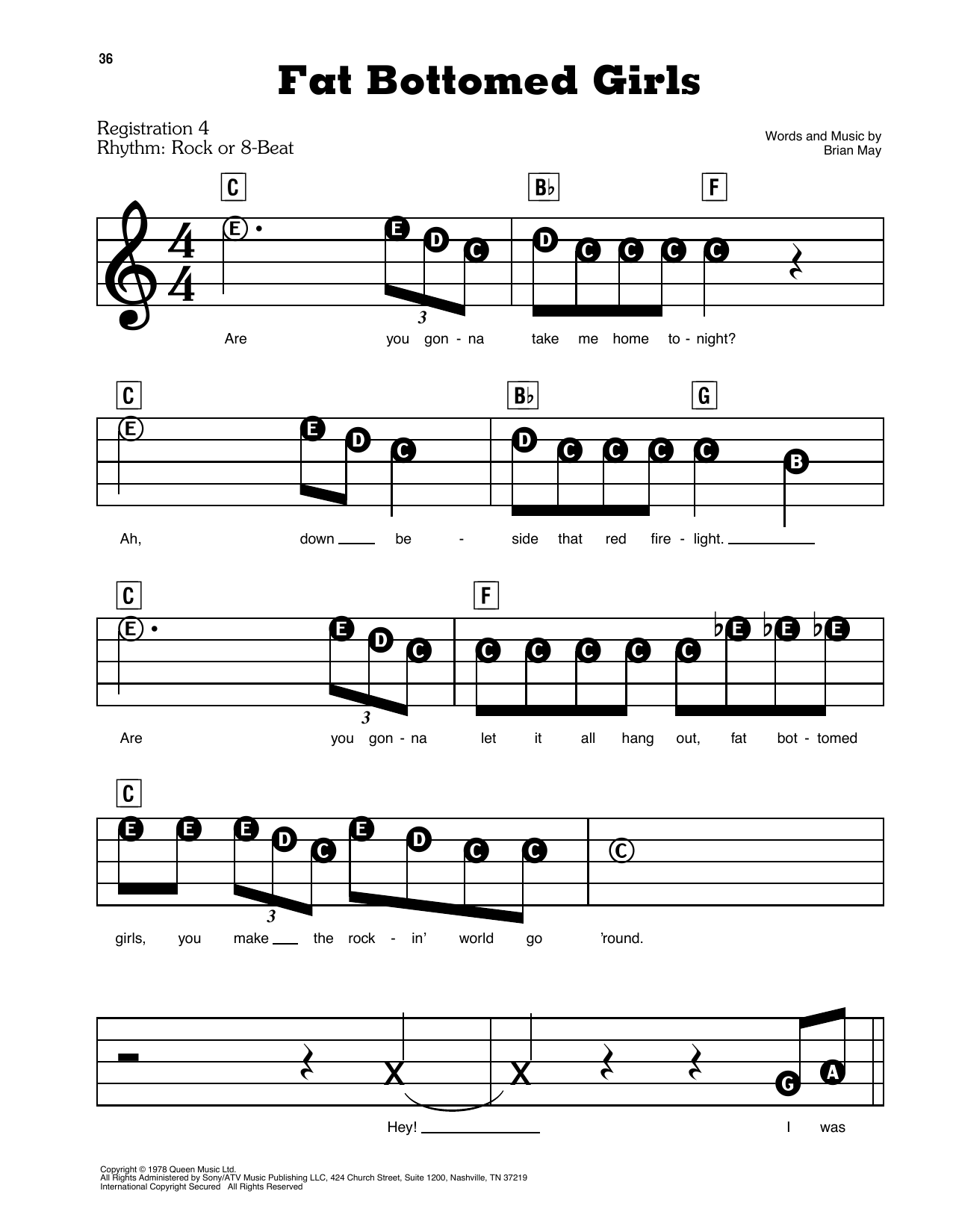 Queen Fat Bottomed Girls sheet music preview music notes and score for E-Z Play Today including 4 page(s)