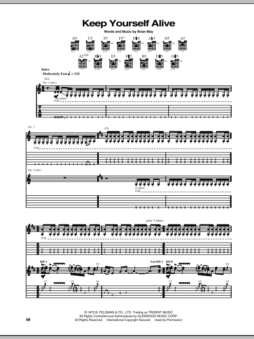 Queen Keep Yourself Alive sheet music preview music notes and score for E-Z Play Today including 4 page(s)