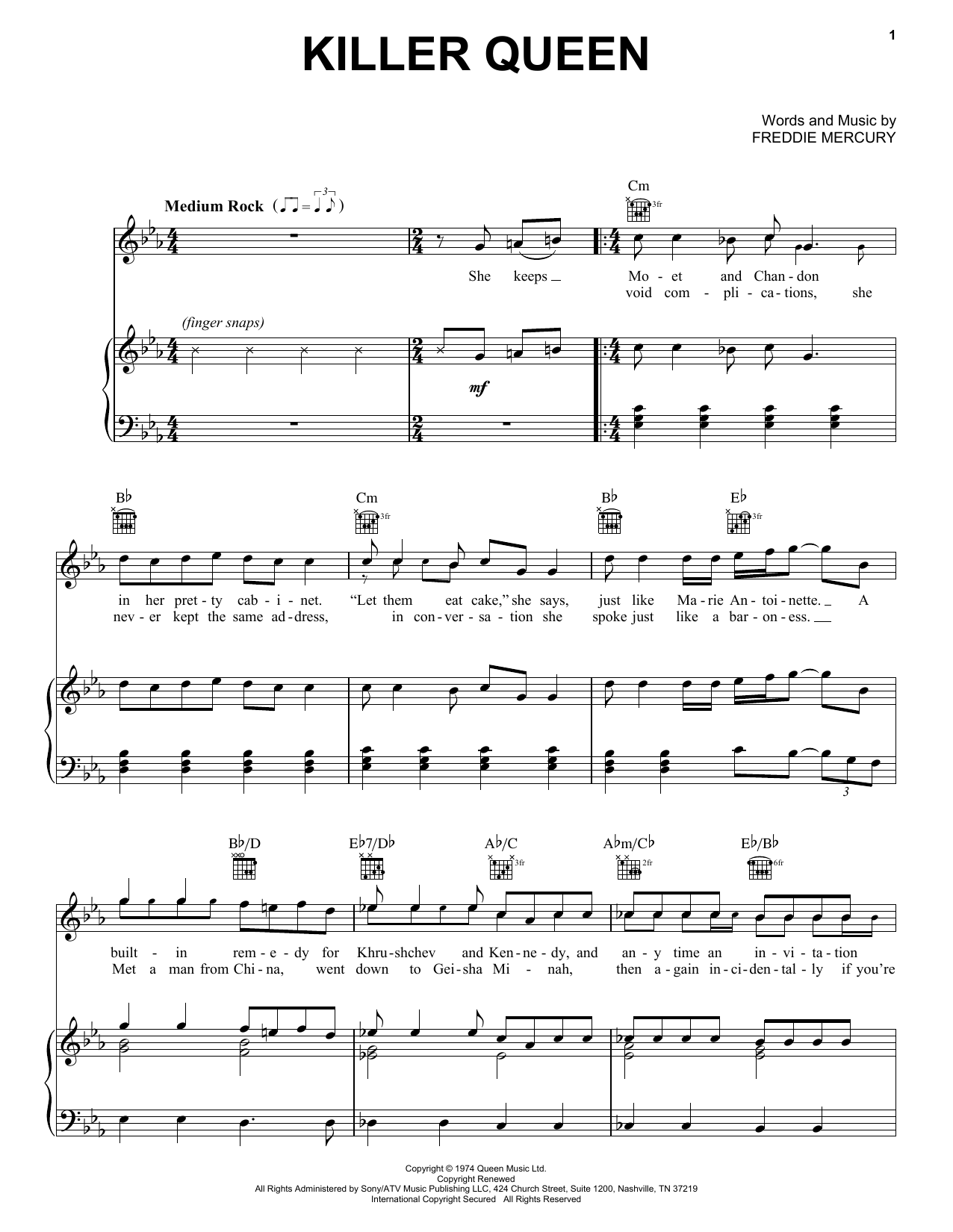 Queen Killer Queen sheet music preview music notes and score for E-Z Play Today including 5 page(s)