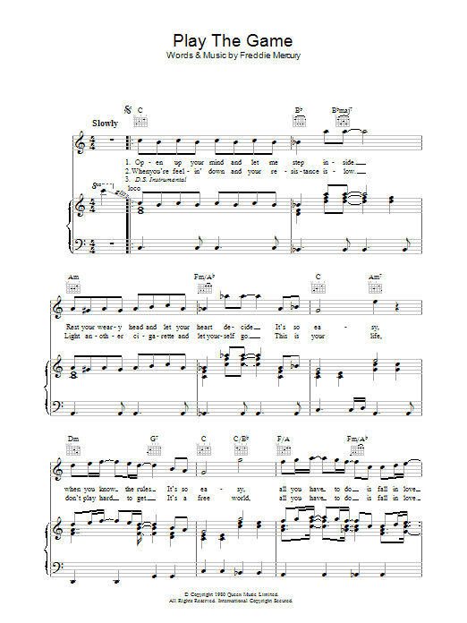 Queen Play The Game sheet music preview music notes and score for Guitar Tab including 5 page(s)