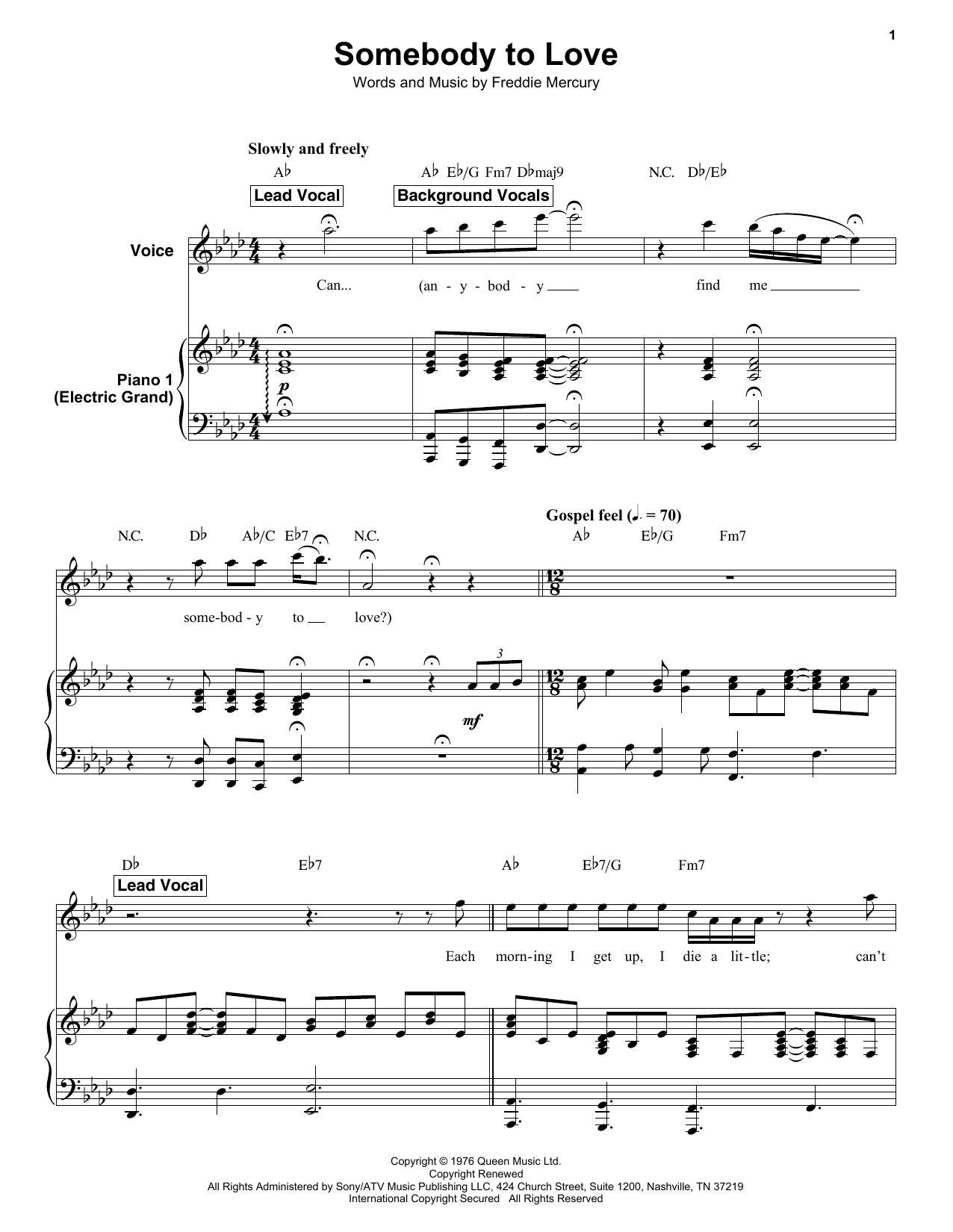 Queen Somebody To Love sheet music preview music notes and score for E-Z Play Today including 9 page(s)