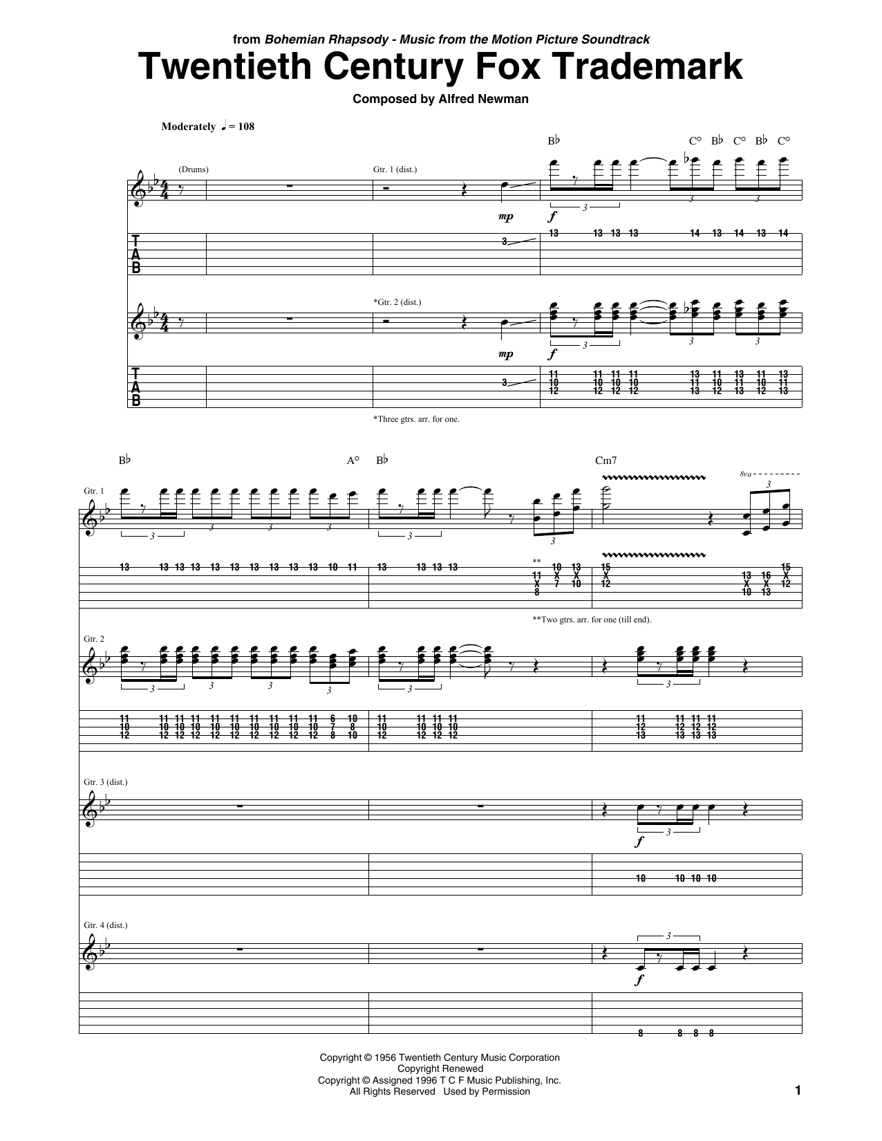 Queen Twentieth Century Fox Trademark sheet music preview music notes and score for E-Z Play Today including 2 page(s)