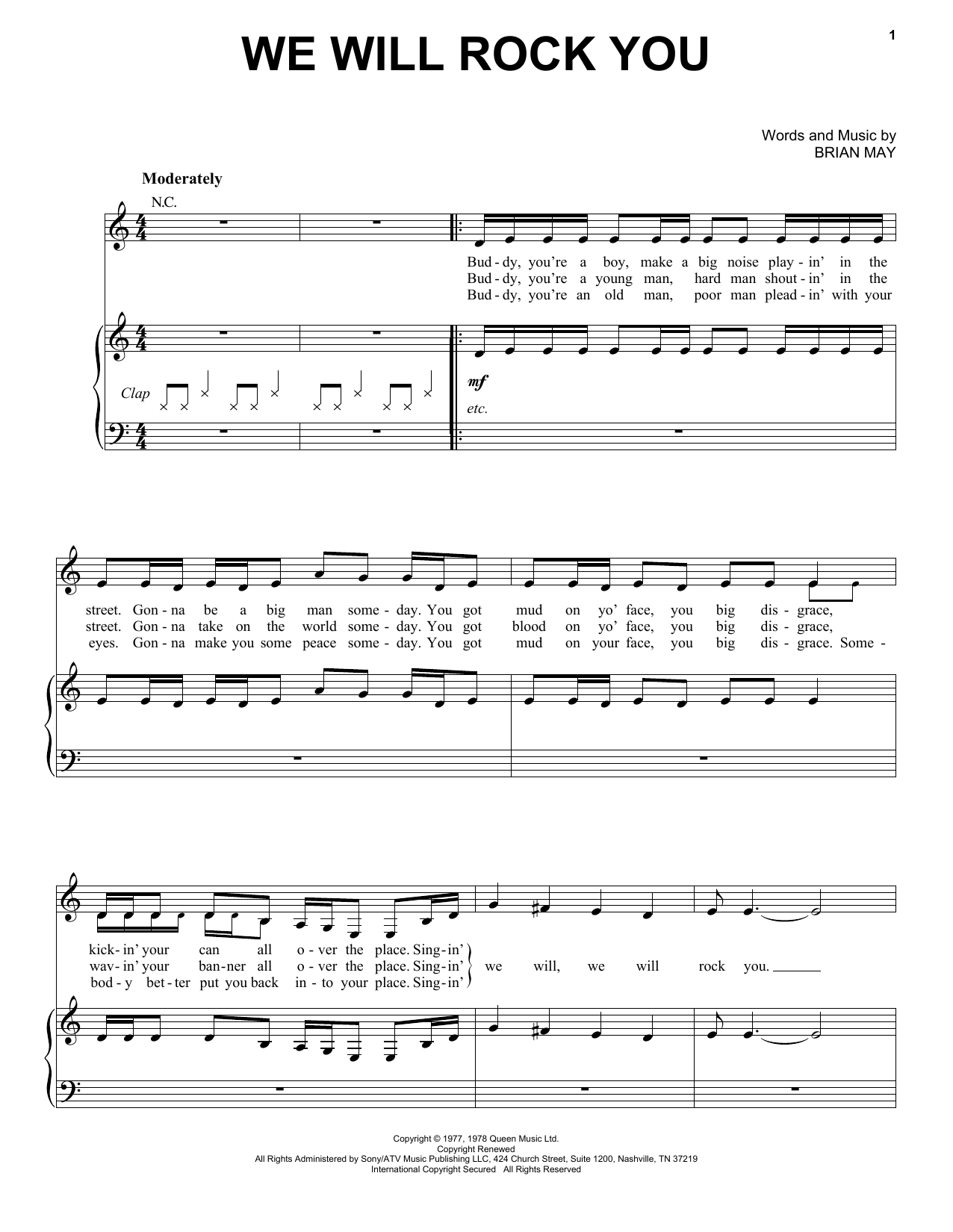 Queen We Will Rock You sheet music preview music notes and score for Piano, Vocal & Guitar (Right-Hand Melody) including 2 page(s)