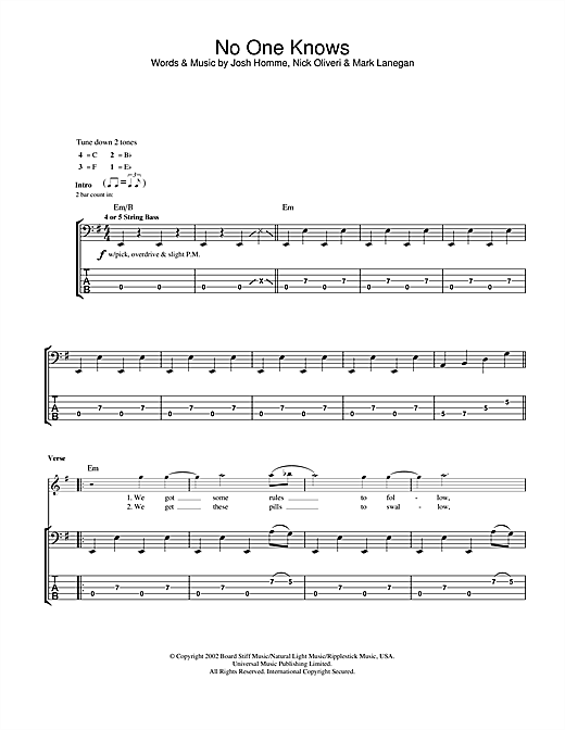 Queens Of The Stone Age No One Knows sheet music notes and chords
