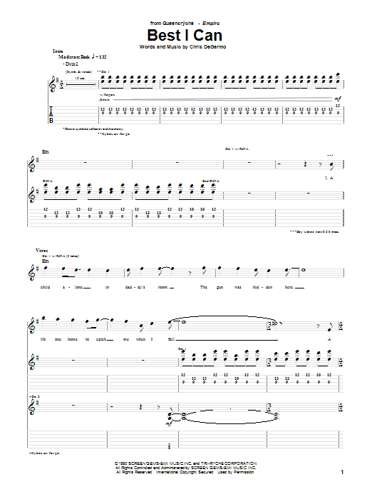 Queensryche Best I Can sheet music preview music notes and score for Guitar Tab including 10 page(s)
