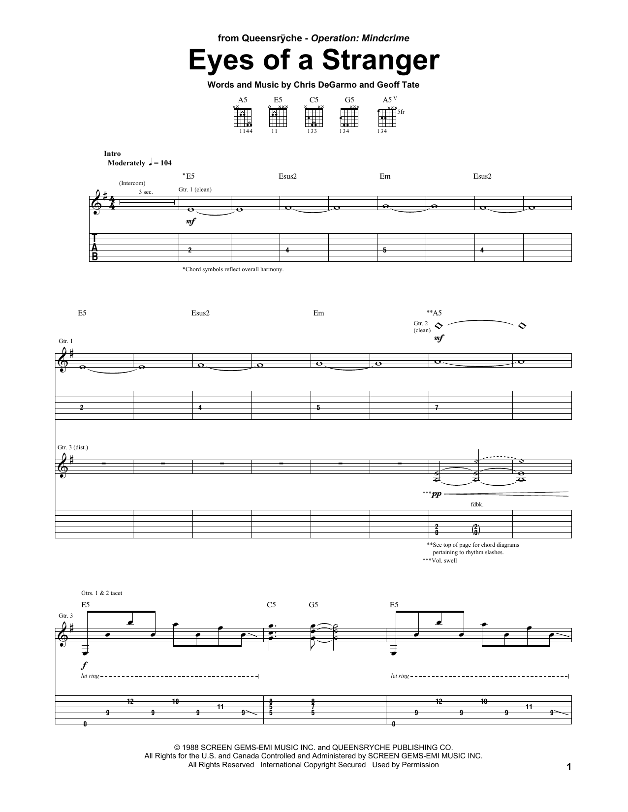 Queensryche Eyes Of A Stranger sheet music preview music notes and score for Guitar Tab including 12 page(s)