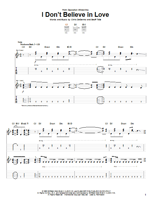 Queensryche I Don't Believe In Love sheet music preview music notes and score for Guitar Tab including 11 page(s)