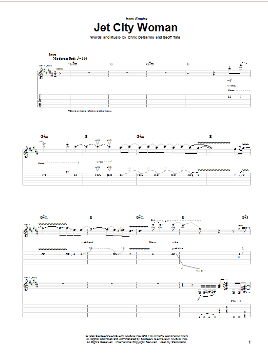 Queensryche Jet City Woman sheet music notes and chords
