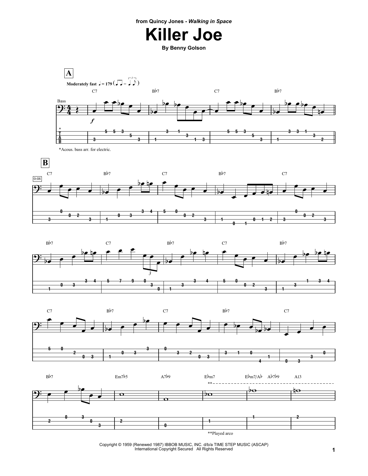 Download Quincy Jones 'Killer Joe' Digital Sheet Music Notes & Chords and start playing in minutes