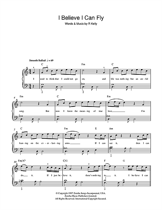 R. Kelly I Believe I Can Fly sheet music preview music notes and score for Beginner Piano including 2 page(s)