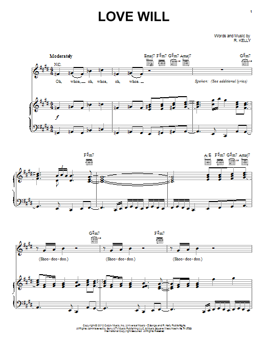 R. Kelly Love Will sheet music preview music notes and score for Piano, Vocal & Guitar (Right-Hand Melody) including 8 page(s)