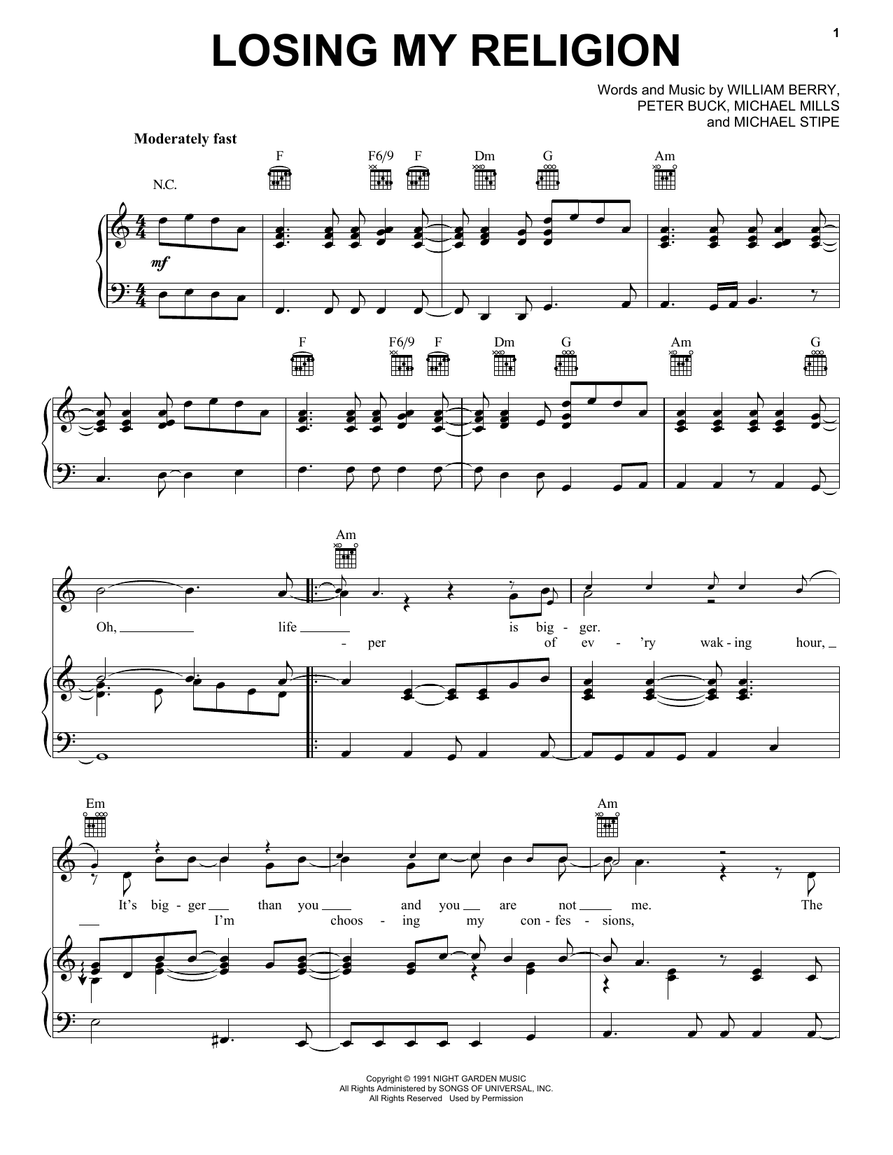 R.E.M. Losing My Religion sheet music preview music notes and score for E-Z Play Today including 5 page(s)