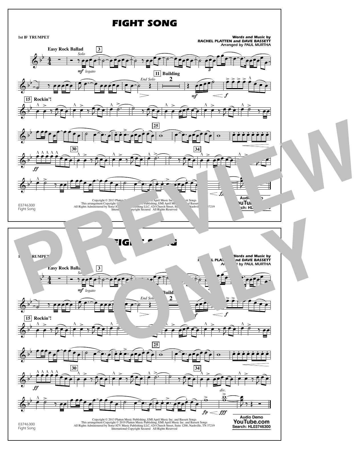 Rachel Platten Fight Song (arr. Paul Murtha) - 1st Bb Trumpet sheet music preview music notes and score for Marching Band including 1 page(s)