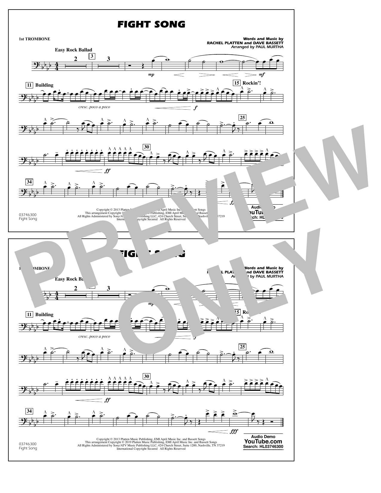 Rachel Platten Fight Song (arr. Paul Murtha) - 1st Trombone sheet music preview music notes and score for Marching Band including 1 page(s)