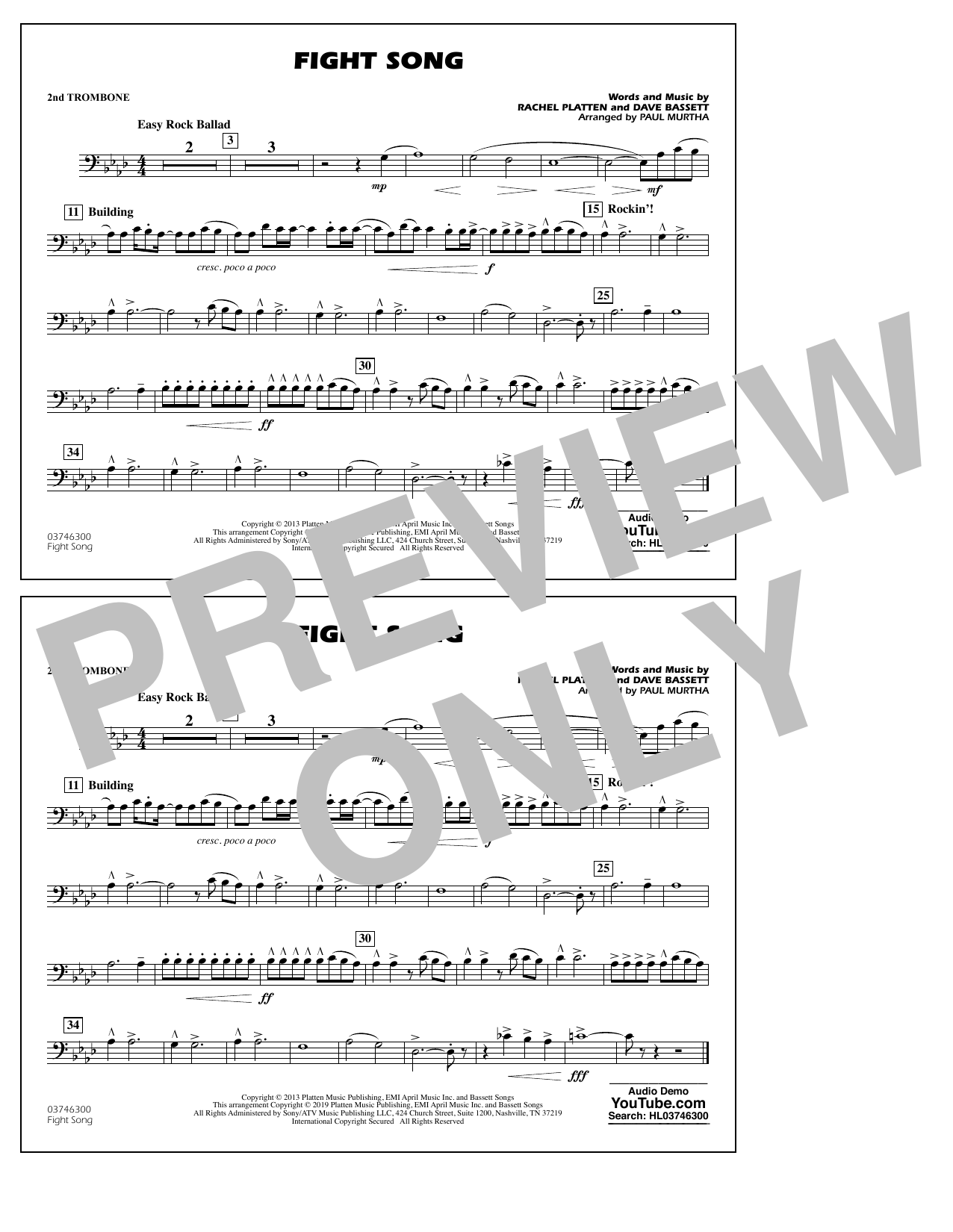 Rachel Platten Fight Song (arr. Paul Murtha) - 2nd Trombone sheet music preview music notes and score for Marching Band including 1 page(s)