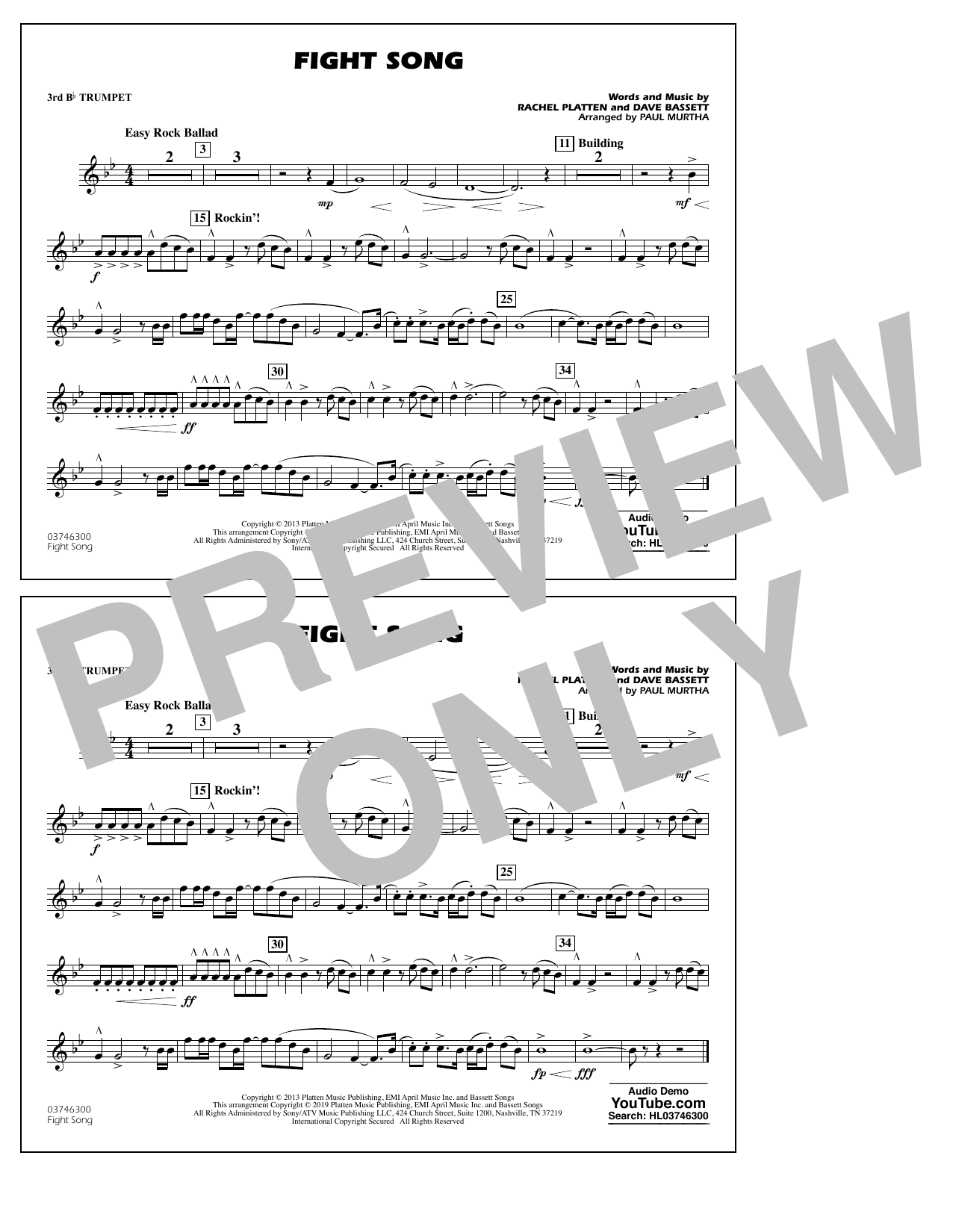 Rachel Platten Fight Song (arr. Paul Murtha) - 3rd Bb Trumpet sheet music preview music notes and score for Marching Band including 1 page(s)