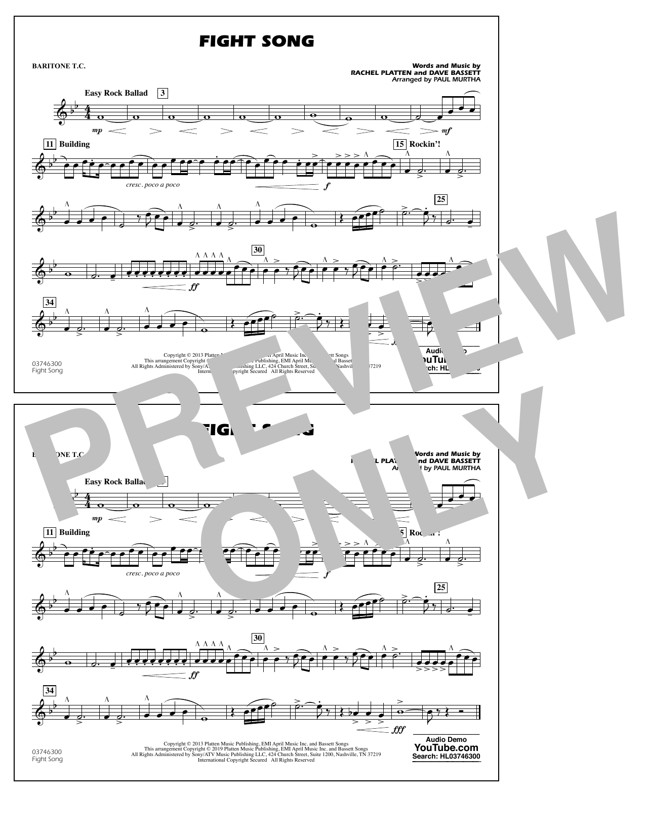 Rachel Platten Fight Song (arr. Paul Murtha) - Baritone T.C. sheet music preview music notes and score for Marching Band including 1 page(s)