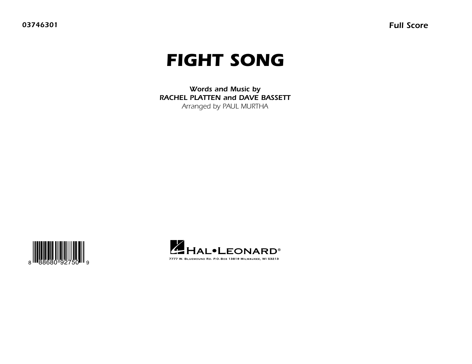 Rachel Platten Fight Song (arr. Paul Murtha) - Conductor Score (Full Score) sheet music preview music notes and score for Marching Band including 7 page(s)