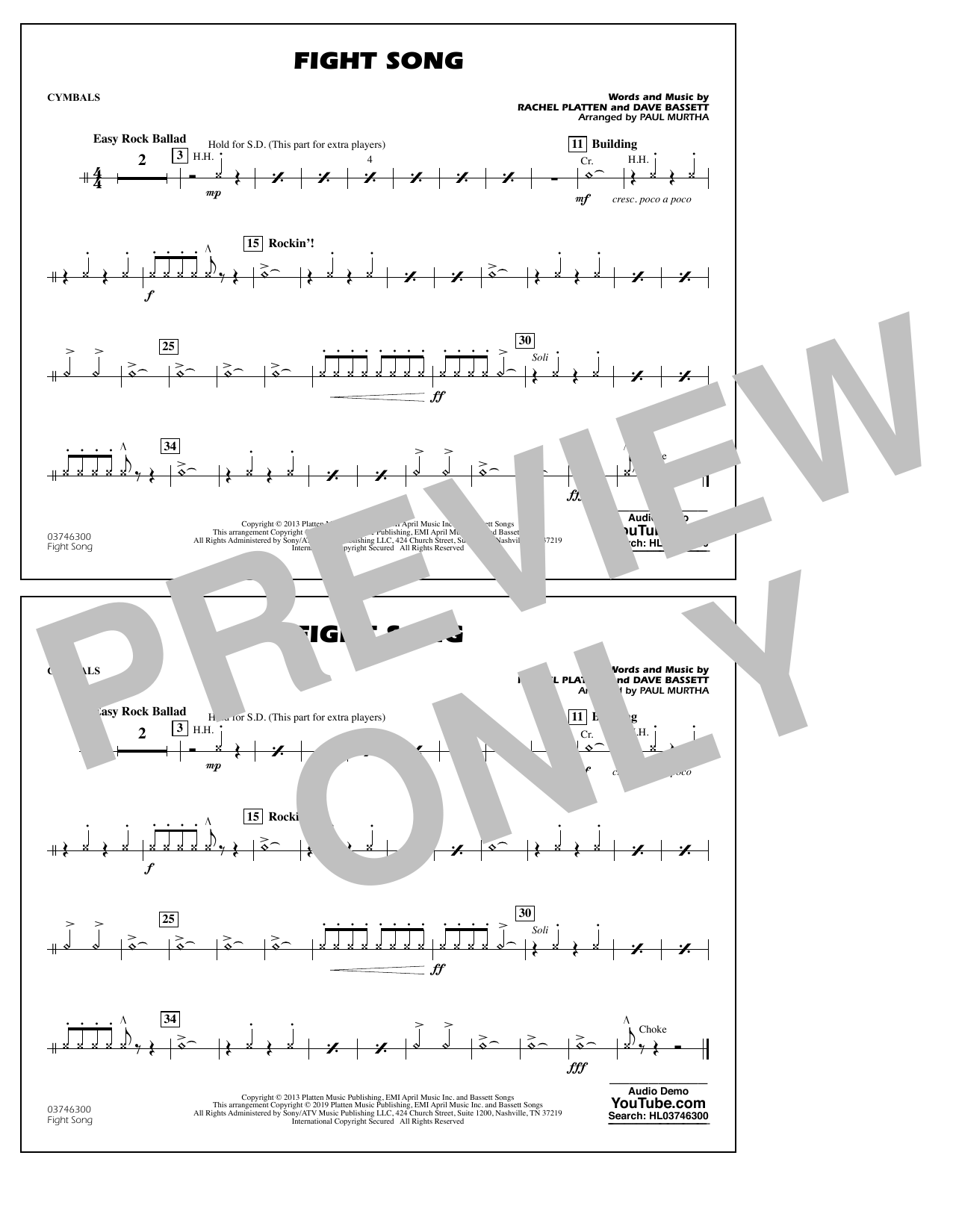 Rachel Platten Fight Song (arr. Paul Murtha) - Cymbals sheet music preview music notes and score for Marching Band including 1 page(s)