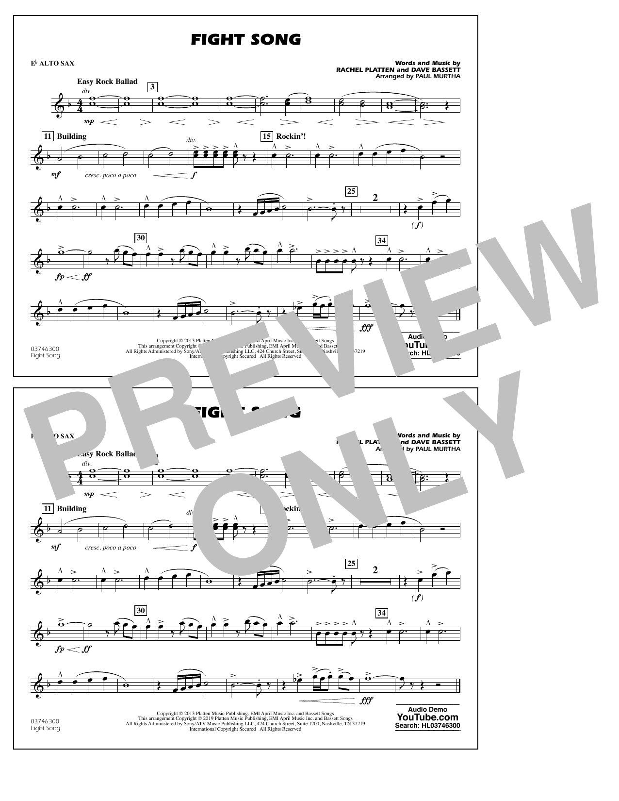 Rachel Platten Fight Song (arr. Paul Murtha) - Eb Alto Sax sheet music preview music notes and score for Marching Band including 1 page(s)