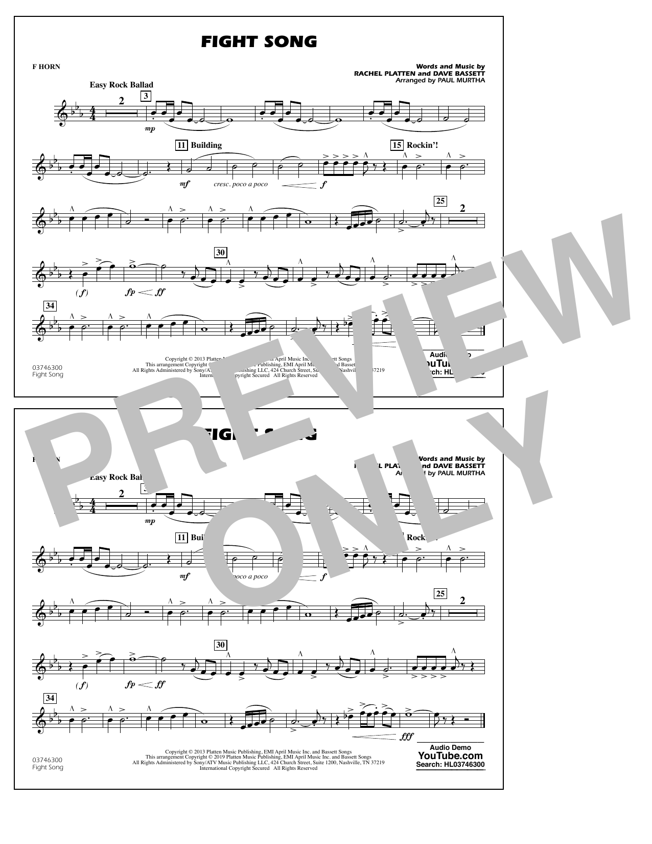 Rachel Platten Fight Song (arr. Paul Murtha) - F Horn sheet music preview music notes and score for Marching Band including 1 page(s)