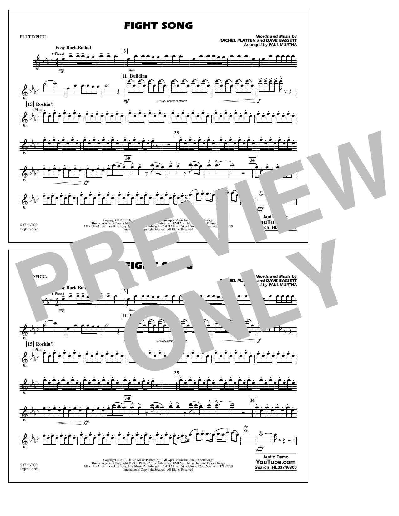 Rachel Platten Fight Song (arr. Paul Murtha) - Flute/Piccolo sheet music preview music notes and score for Marching Band including 1 page(s)
