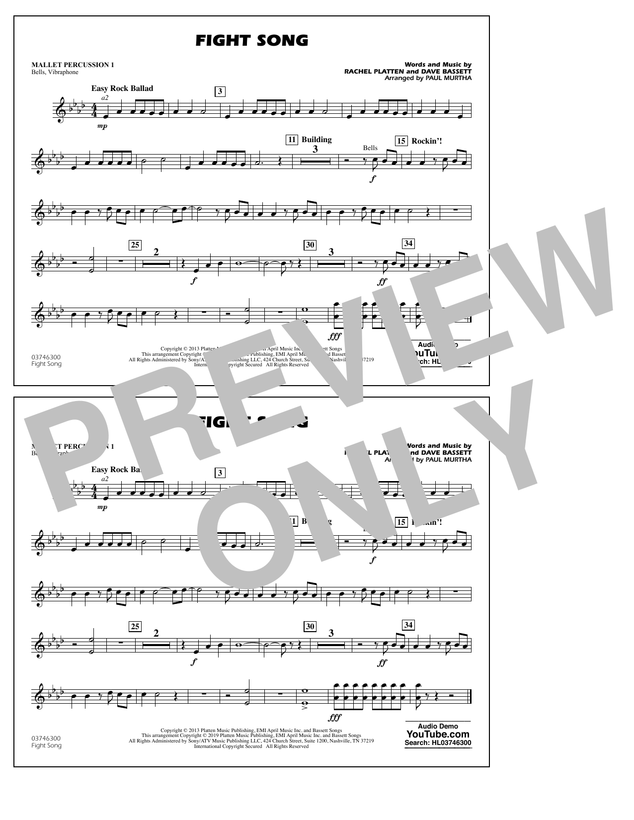 Rachel Platten Fight Song (arr. Paul Murtha) - Mallet Percussion 1 sheet music preview music notes and score for Marching Band including 1 page(s)