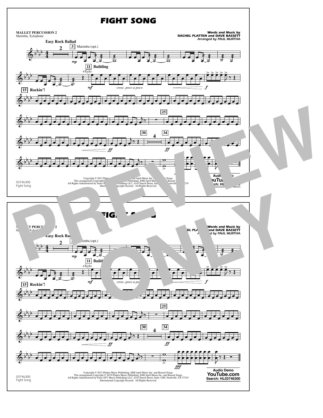 Rachel Platten Fight Song (arr. Paul Murtha) - Mallet Percussion 2 sheet music preview music notes and score for Marching Band including 1 page(s)