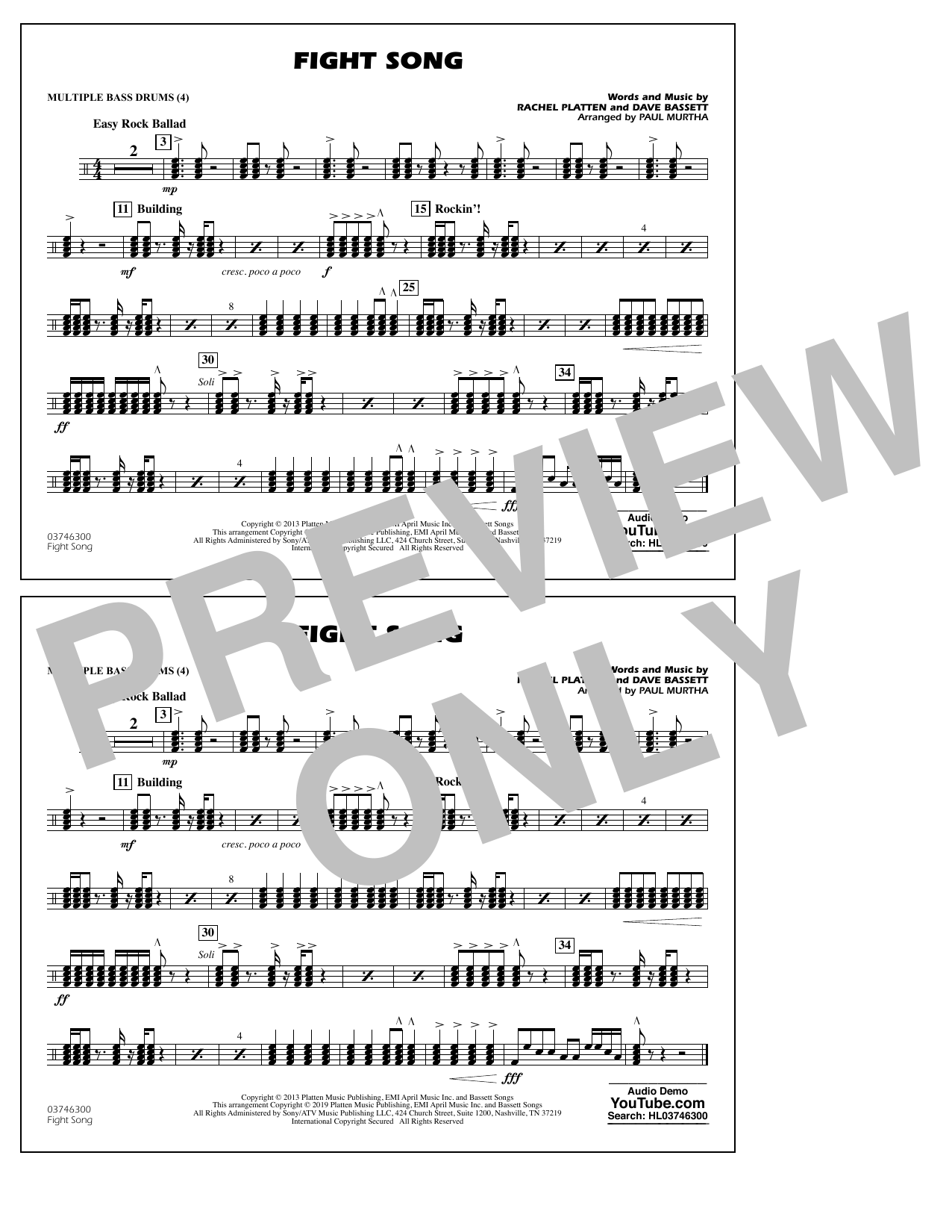 Rachel Platten Fight Song (arr. Paul Murtha) - Multiple Bass Drums sheet music preview music notes and score for Marching Band including 1 page(s)