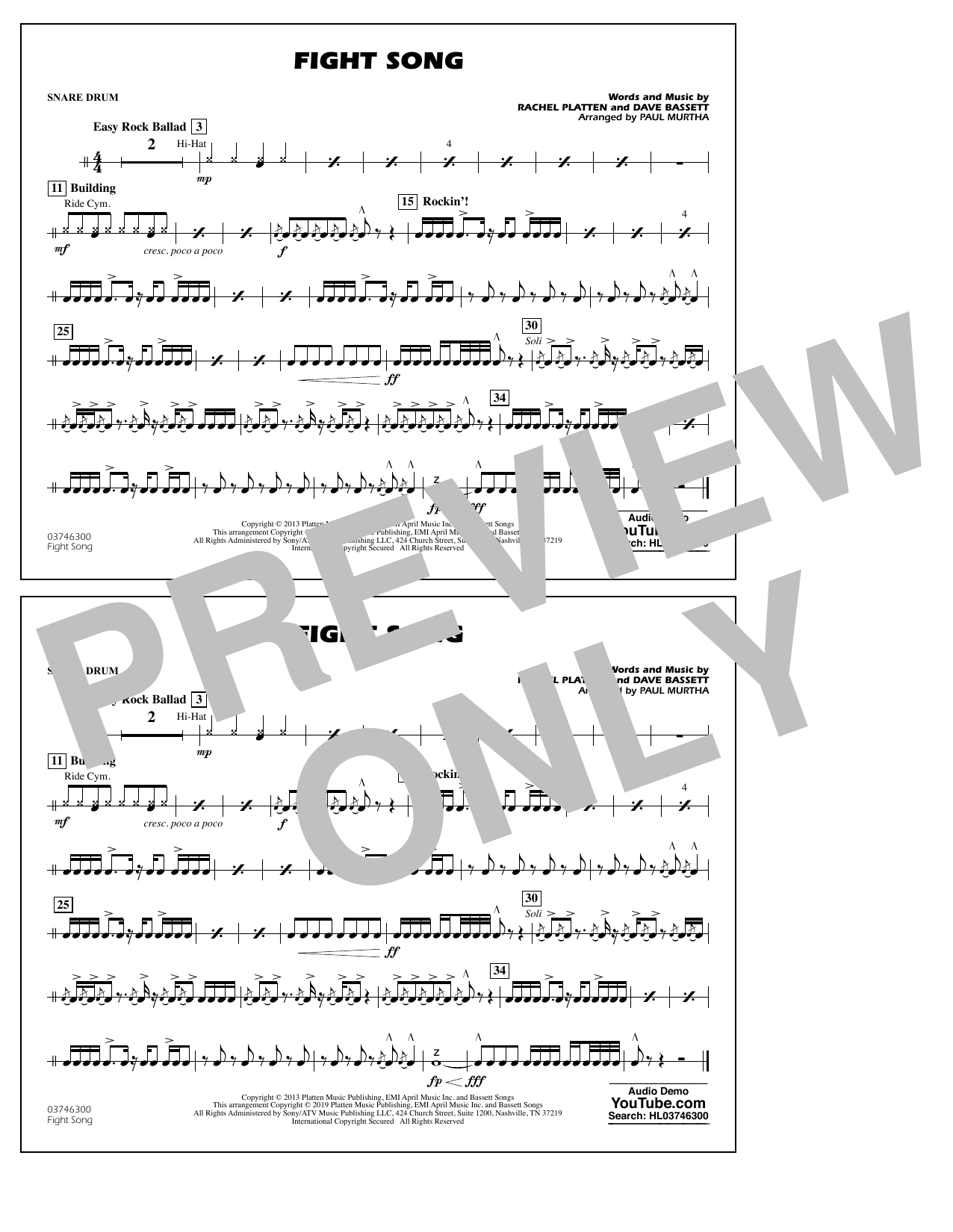 Rachel Platten Fight Song (arr. Paul Murtha) - Snare Drum sheet music preview music notes and score for Marching Band including 1 page(s)