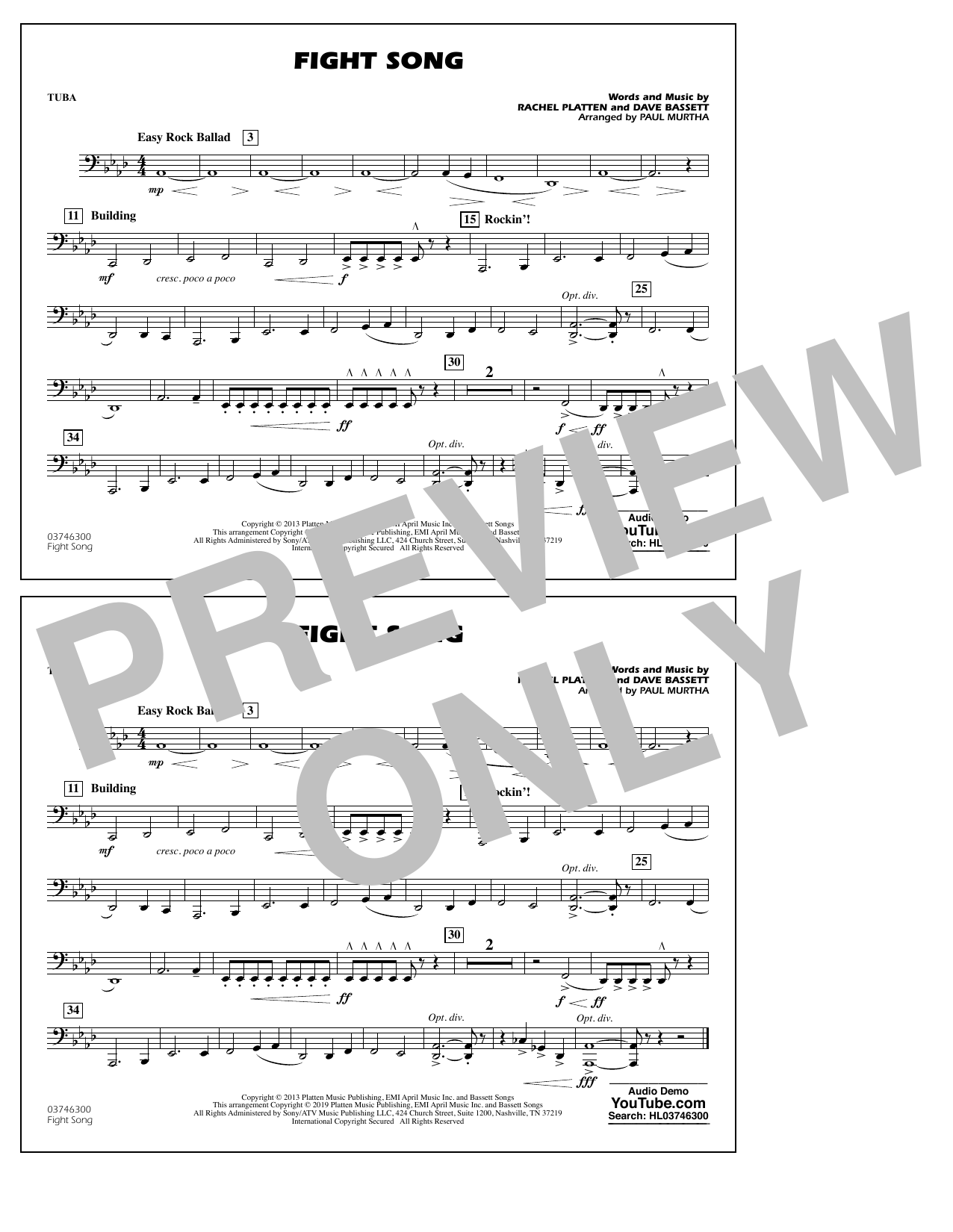 Rachel Platten Fight Song (arr. Paul Murtha) - Tuba sheet music preview music notes and score for Marching Band including 1 page(s)