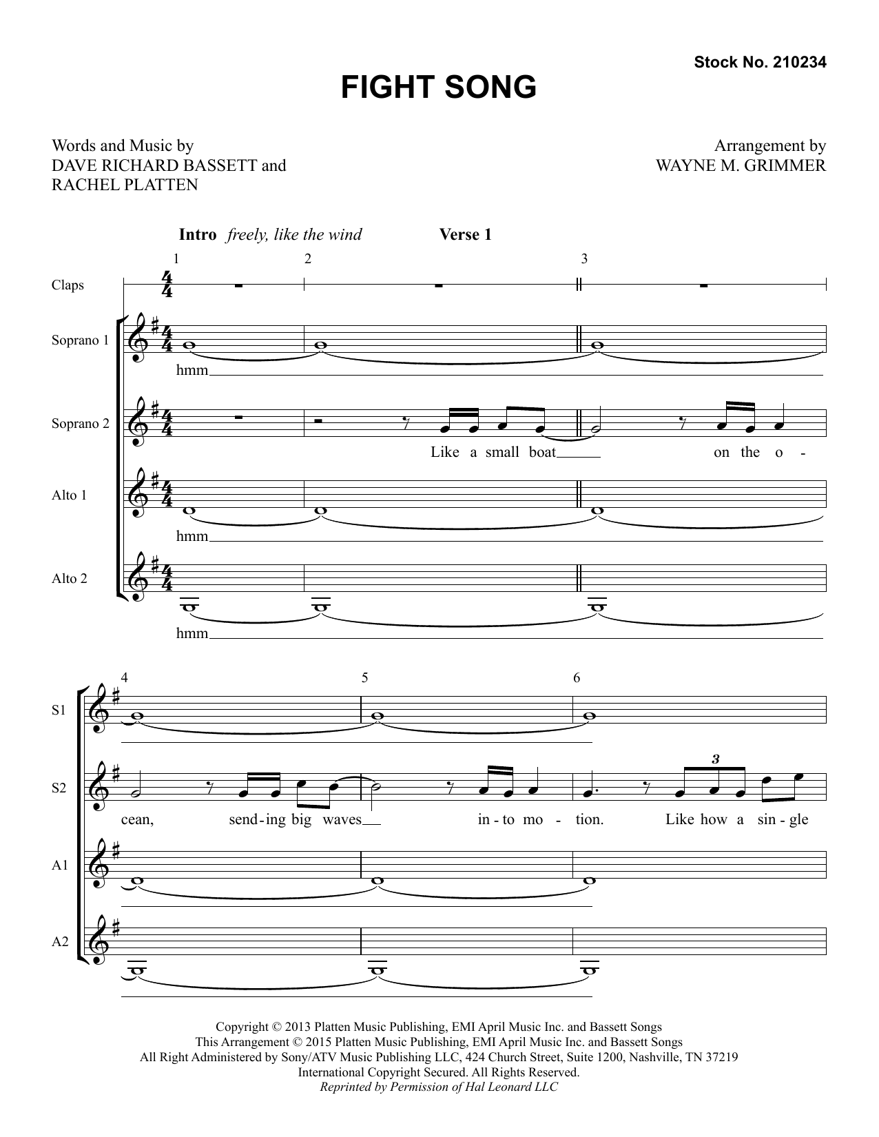 Rachel Platten Fight Song (arr. Wayne Grimmer) sheet music preview music notes and score for TTBB Choir including 16 page(s)