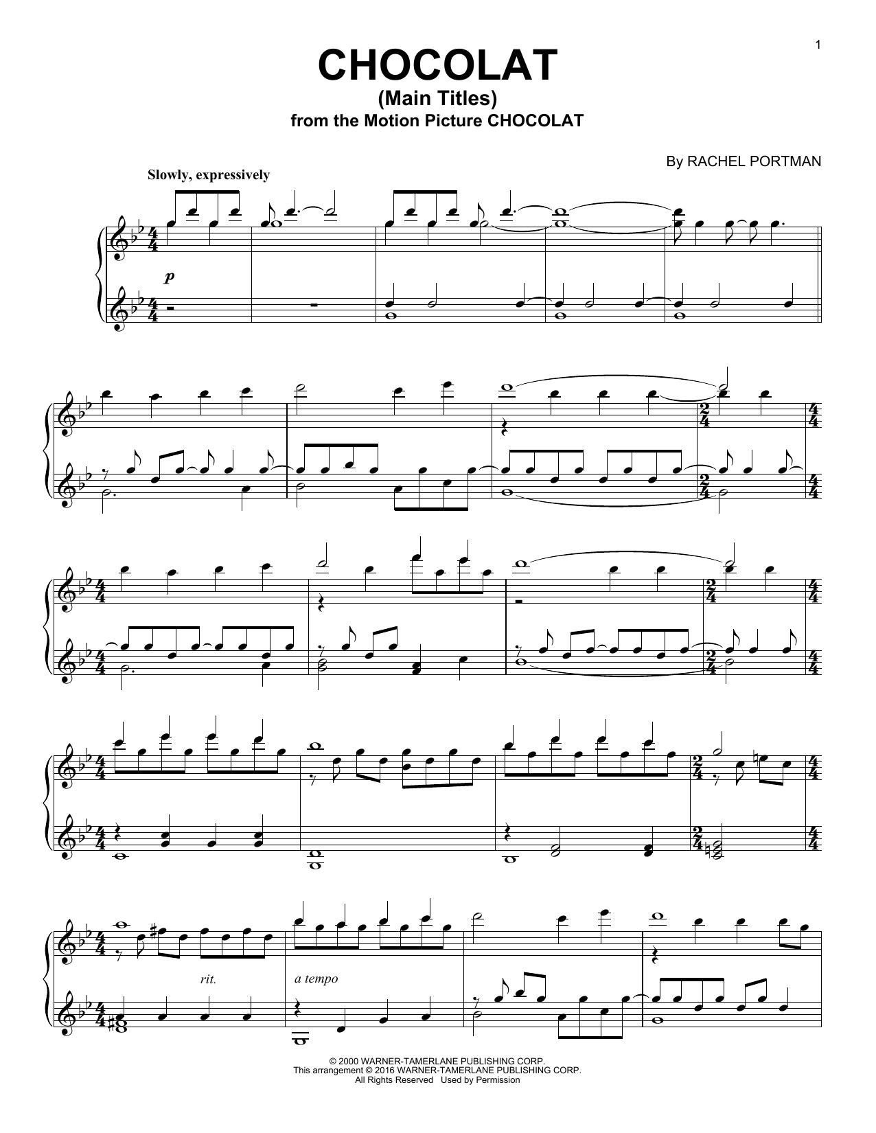 Download Rachel Portman 'Chocolat (Main Titles)' Digital Sheet Music Notes & Chords and start playing in minutes