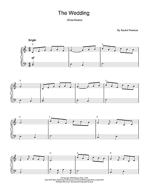 Rachel Portman The Wedding (from Emma) sheet music notes and chords