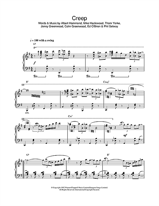 Download Radiohead 'Creep (jazz version)' Digital Sheet Music Notes & Chords and start playing in minutes