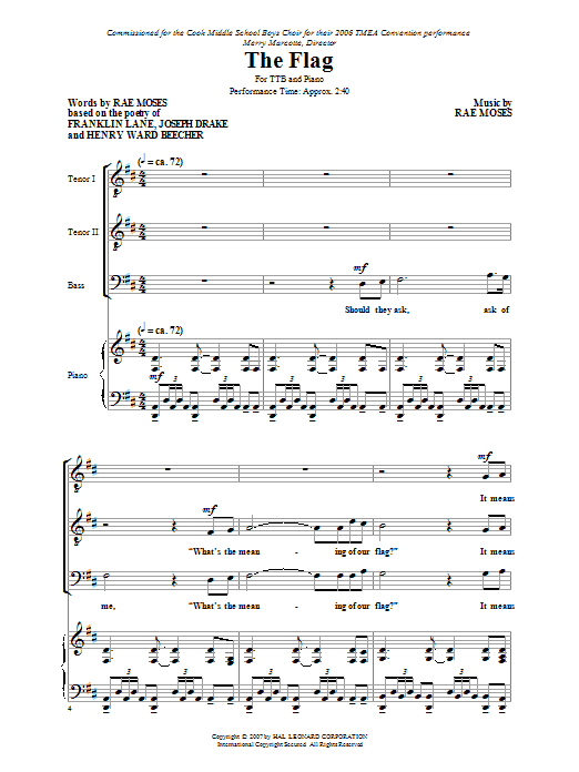 Download Rae Moses 'The Flag' Digital Sheet Music Notes & Chords and start playing in minutes